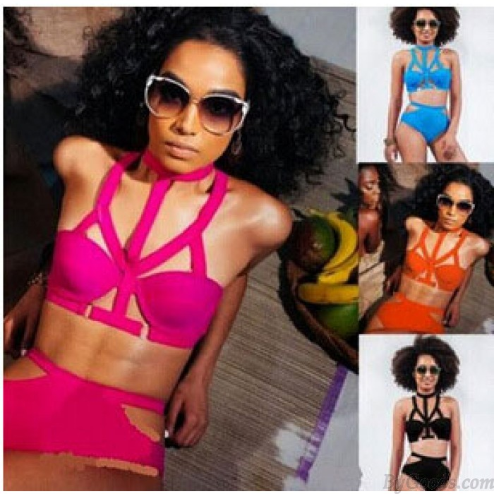 Sexy Pure Color Hollow Wire Bikini Swimsuit