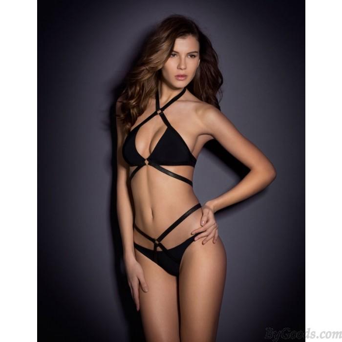 Sexy Style Bandage Bikini Set Halter Push-up Swimwear