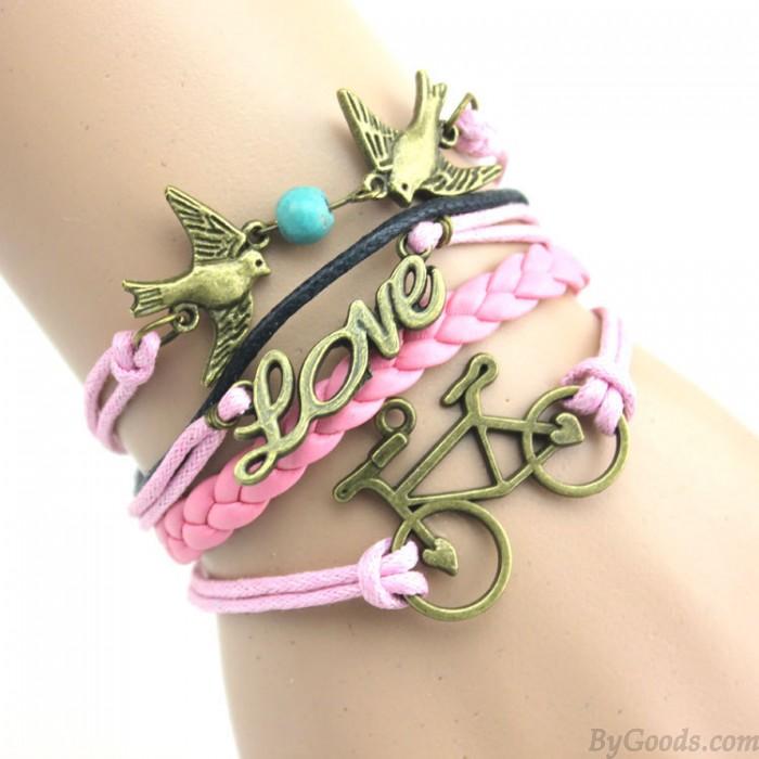 Vélos à la mode à double hirondelle Amour Bracelet Infini
