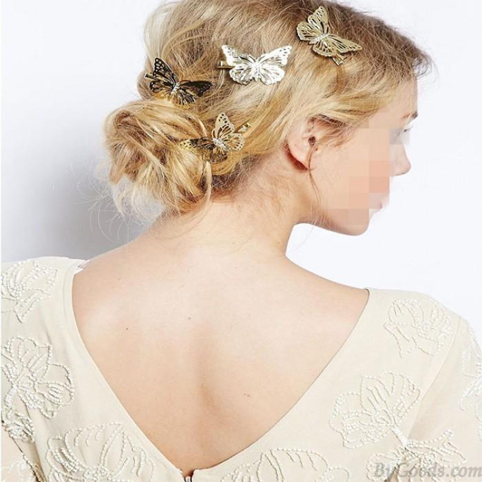 Pince à cheveux papillon creux femmes accessoires côté cheveux pinces à cheveux