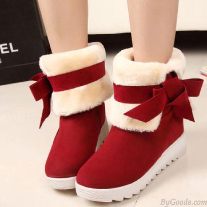 Mignon Bowknot Chaleureux L'hiver Neige Bottes Chaussures
