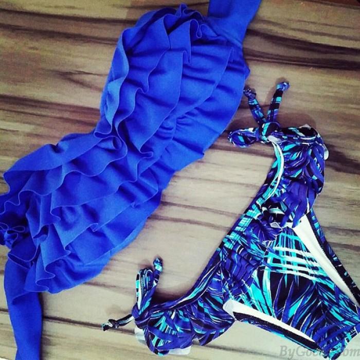 Sky Soild Blue Lace Sexy Bikini