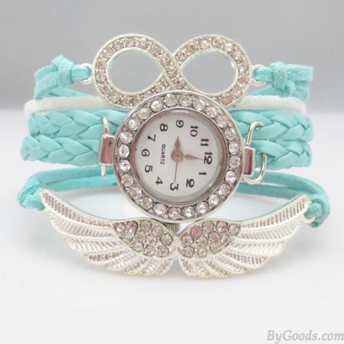 Original l'ange Ailes faux diamant Tressé Bracelet Regardez