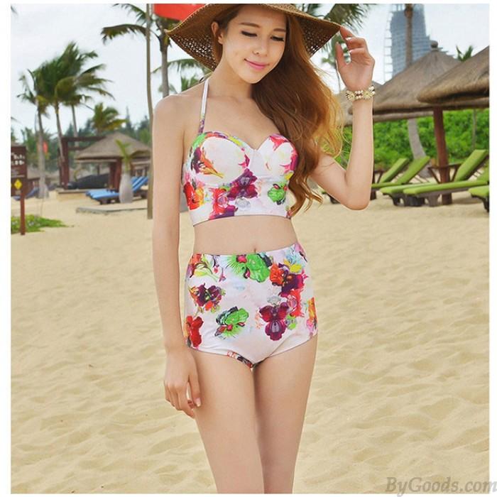 Conservative Flower Print High-waist Bikini Sexy Women Beachwear Swimwear
