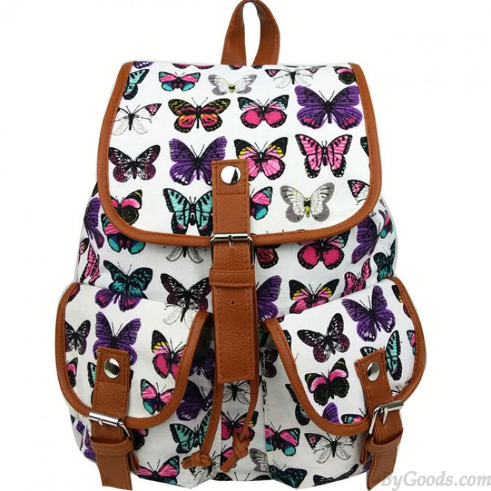 Loisirs papillon impression femmes sac à dos deux poches collège toile sac à dos
