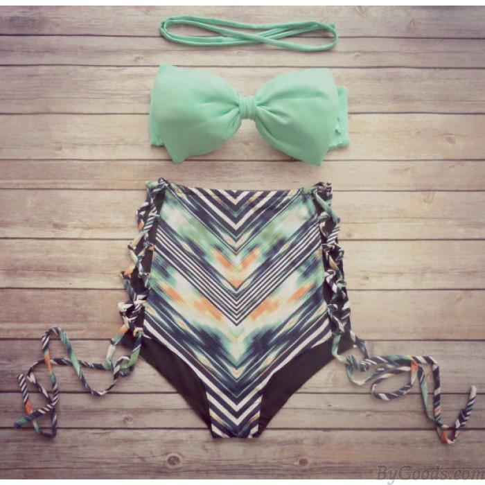 Mint Bow High Waist Floral Bikini Bow Top Swimsuits Bikini Set
