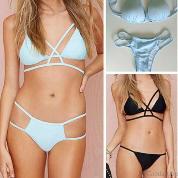 Sexy Swimwear Triangle Hollow Out Bikini Set Swimsuit