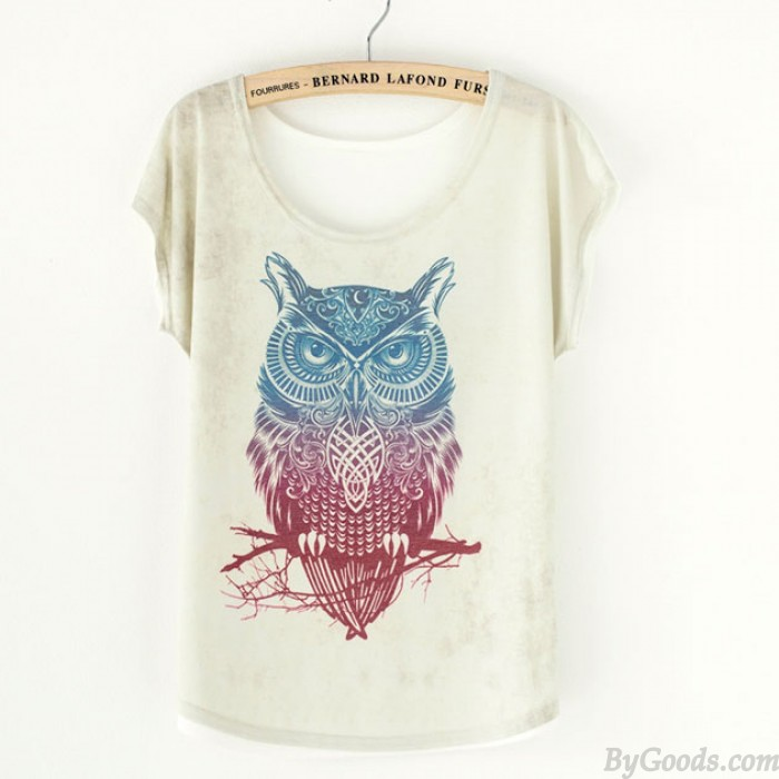 Cute Owl Animal Printed T-Shirt