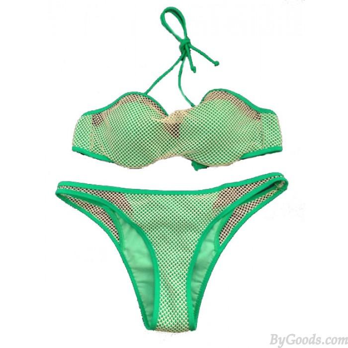 Net Stitching Green Swimsuit Sexy Bikini Swimwear Bathingsuit