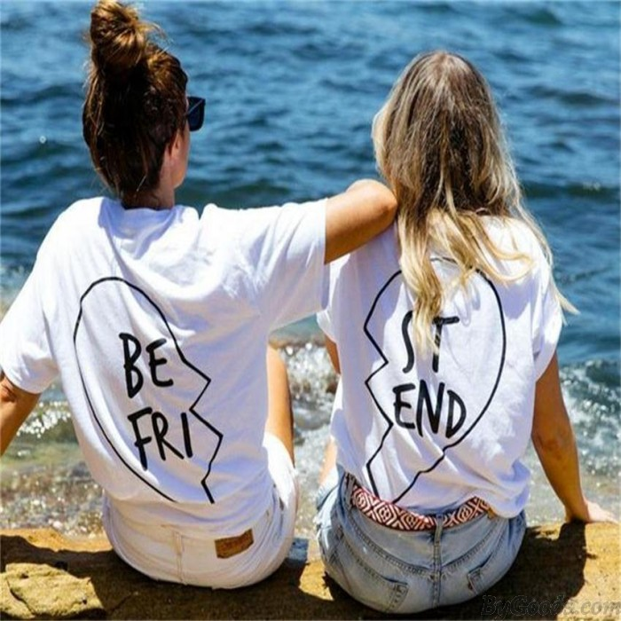 Best Friend Letters Printed Cotton T-shirt For Women Get Two Shirts