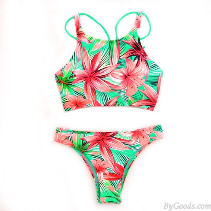 Flowers Printing Bikini Set Pink Lily Swimsuit Swimwear Bathingsuit