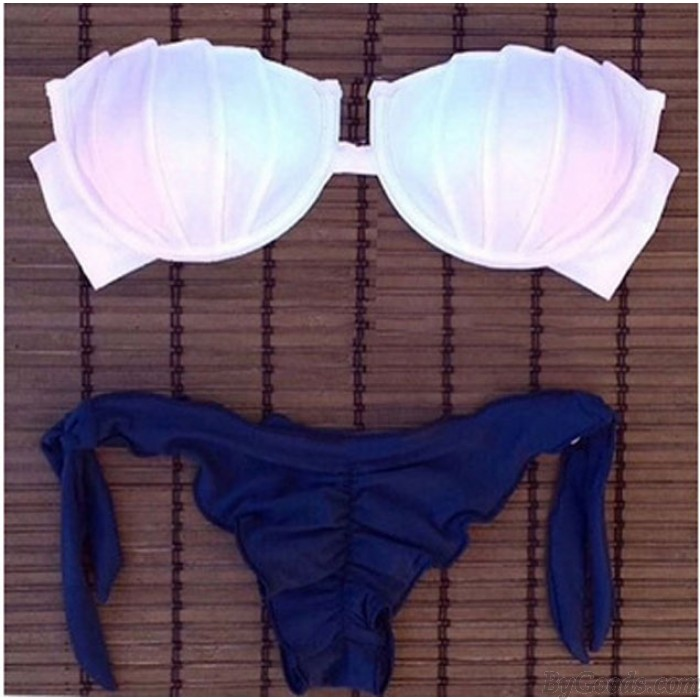 Gradient Shrink Wrapped Chest Bikini Swimsuit Swimwear Bathingsuit