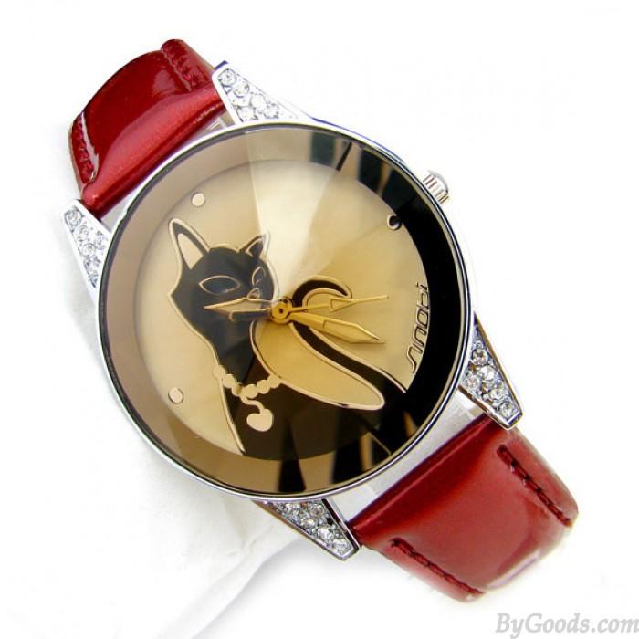 Elegant Cat Rhinestone Watch-Wine Red