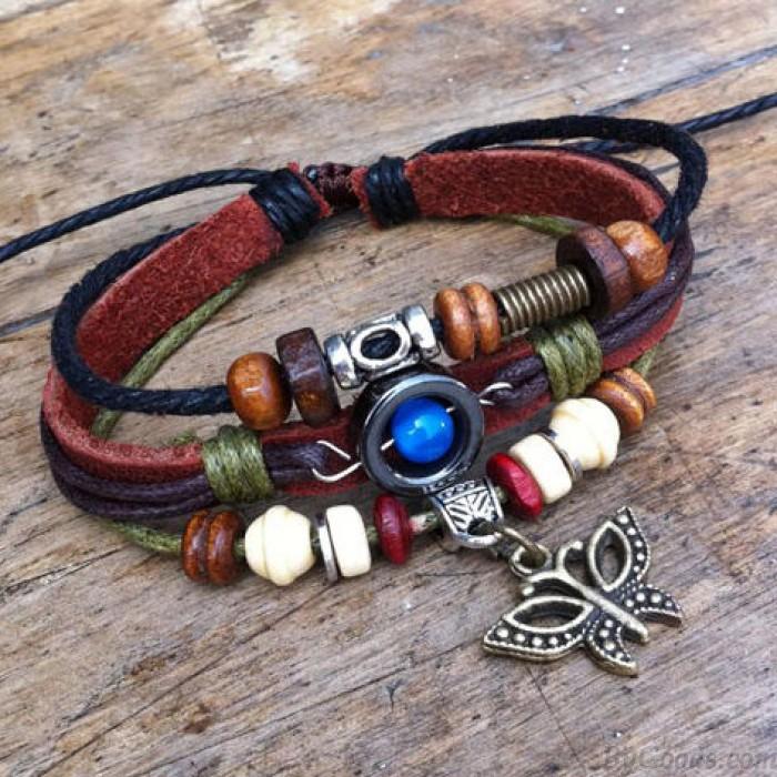 Joli bracelet de cuir de papillon perle