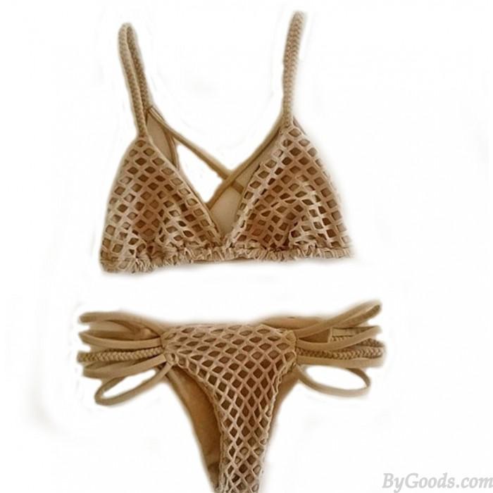 Fashion Hand-woven Mesh Swimsuit Swimwear Sexy Bikini Bathingsuit