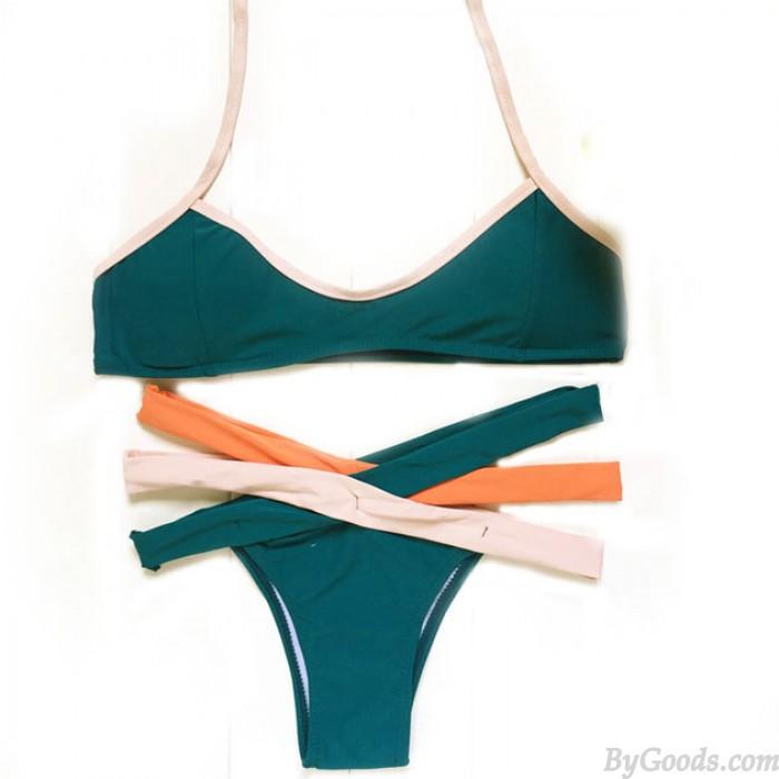 Fashion Contrasting Colors Bandage Bikini Set Swimsuit Swimwear Bathingsuit