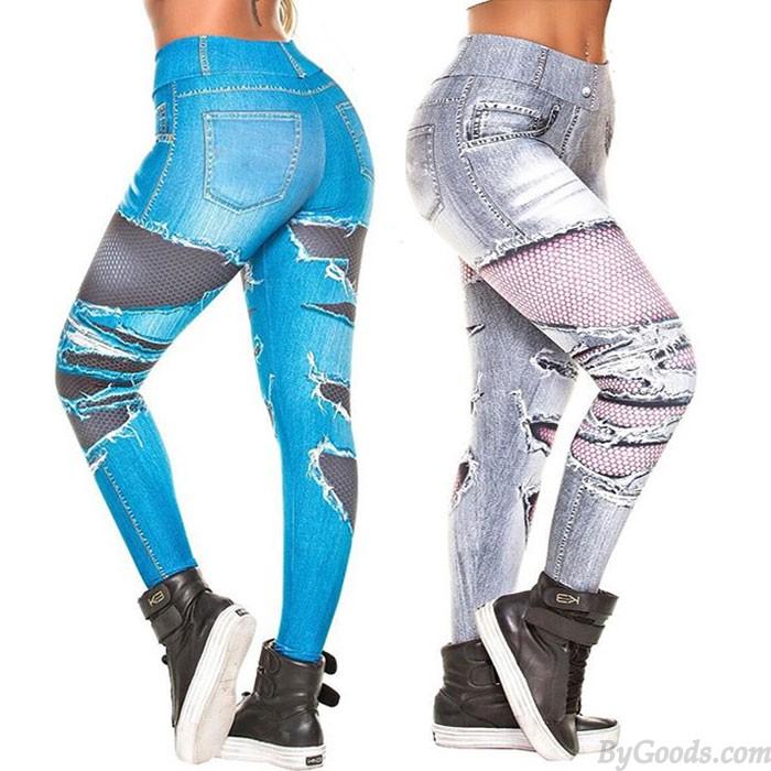 Mode Denim Numérique En lambeaux jeans Legging taille haute extensible imprimé pour femmes