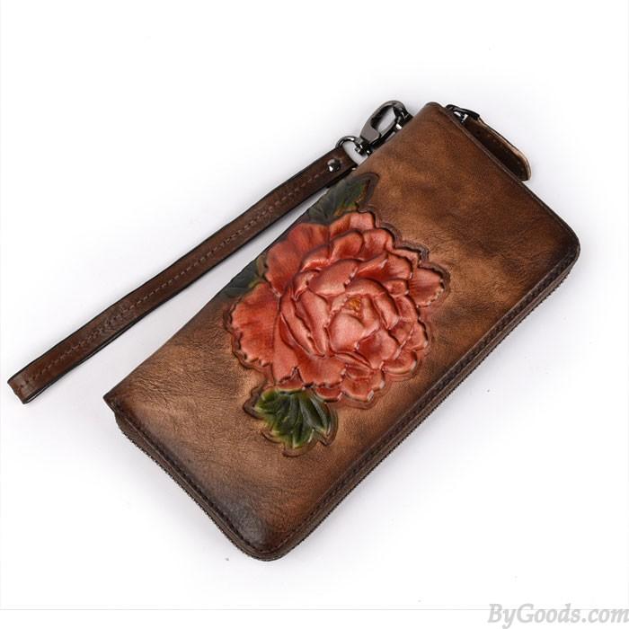 Rétro Rose Portefeuille long Lady Original Téléphone Bourse 3D rouge Fleur Gaufrage Pochette
