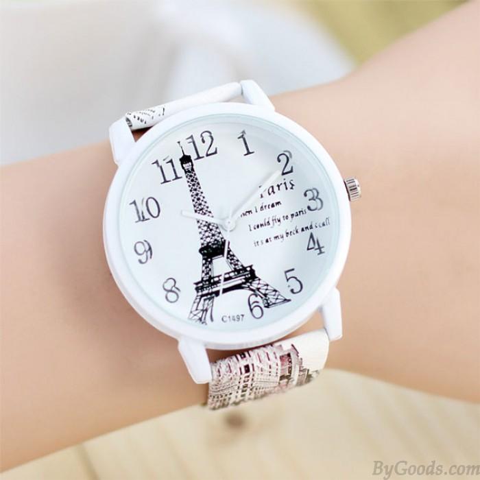 Sweet Paris Eiffel Tower Quartz Watch Ladies Students Casual Watches