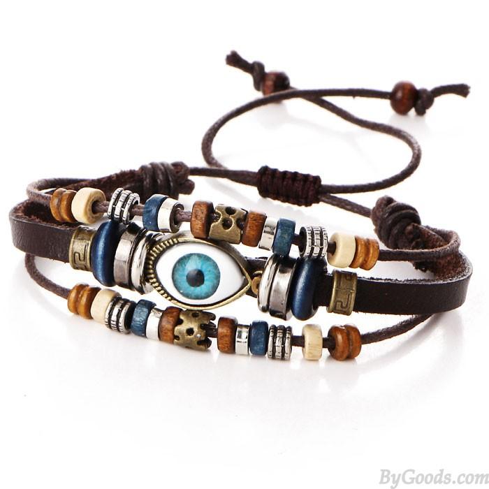 Rétro multicouche réglable oeil perlé tissé à la main bracelet en cuir ethnique globe oculaire