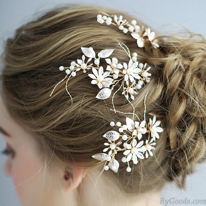 Doux à la main demoiselle d'honneur perle fleur branche épingle à cheveux mariée mariage cheveux accessoires