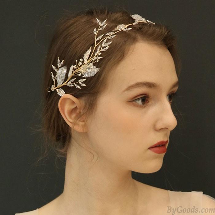 Branche d'arbre nuptiale unique laisse des accessoires de cheveux de mariage de cristal de bande de cheveux
