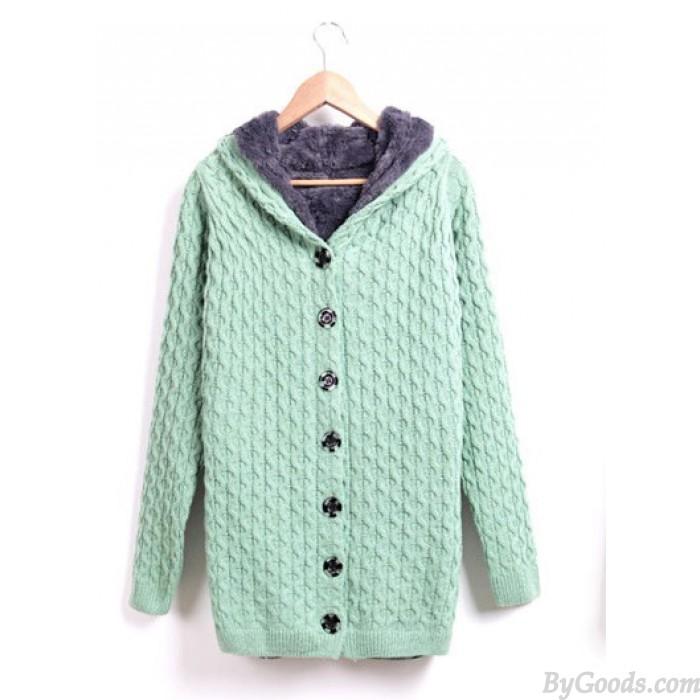 New Sweet Nice Plus Velvet  Hooded Sweater &Cardigan