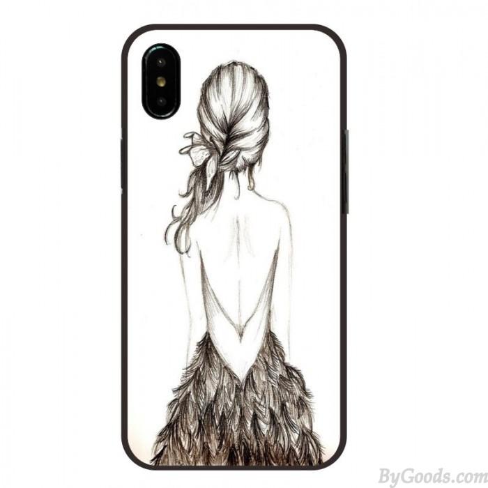 Croquis De Cheveux Longs Belle Fille De Dos Iphone 6/8 Plus / 11/12 / XR Coques Iphone