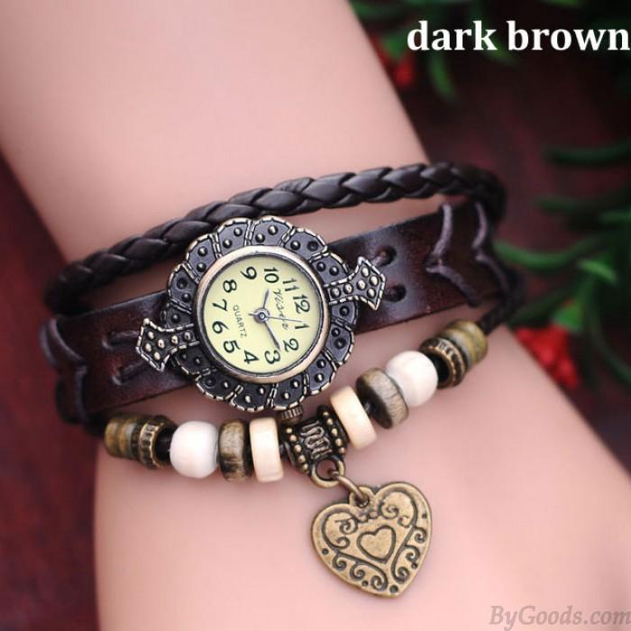 Métallique Perles Coeur Rétro Cuir Bracelet Regardez