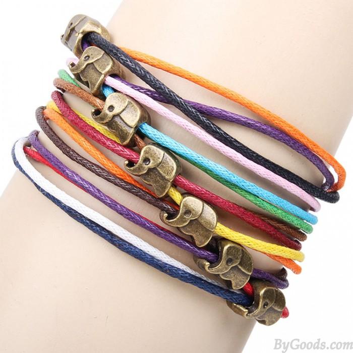 Bracelet corde colorée éléphant mignon