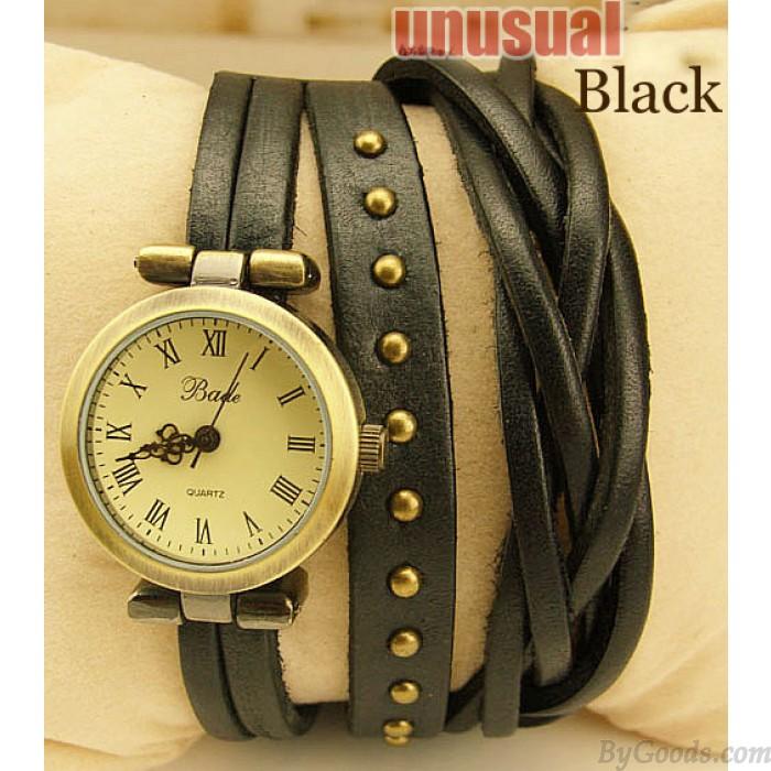 The twist braid winding Rome Leather Wrap Watch-black