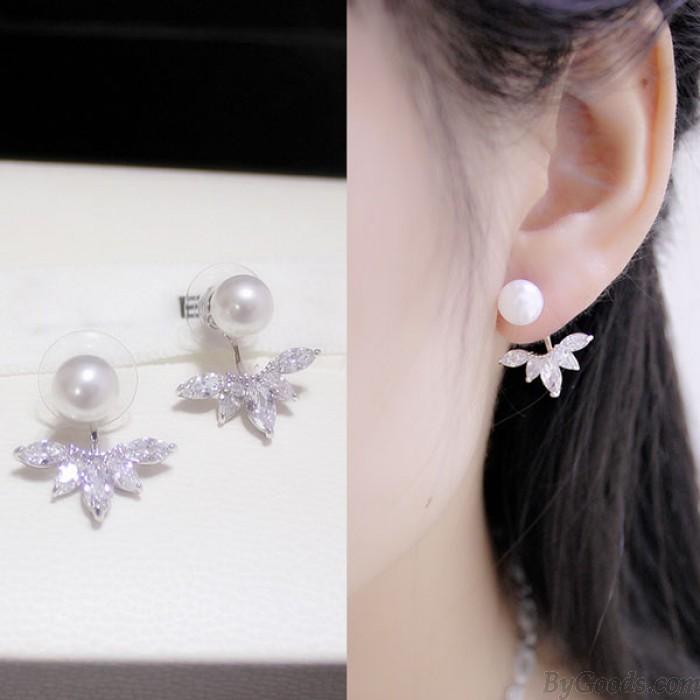 Double Dames Le luxe Winky Zircon Pétale Perle Noble Femme Boucles d'oreilles