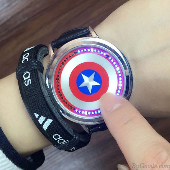 Créatif Starry Sky Captain America Couple d'étudiants montre étudiant LED lumière montre à cadran tactile