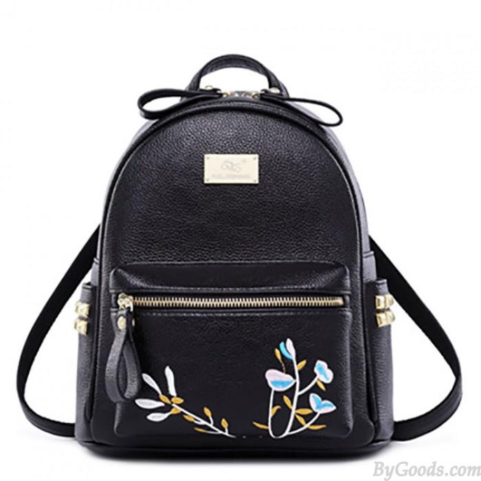 Sac à dos loisirs Mini Soft PU broderie rivet noir blanc école de fleurs