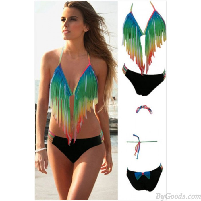 Rainbow Tassel Sexy Fashion Bikini