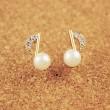 Dame Inlay Diamant Perle de note de musique Doré Boucles d'oreilles