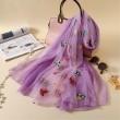 Écharpes brodées de femmes de soie d'été de fleur multicolore fraîche