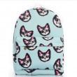 Bleu clair doux Belle chaton impression Toile Sac d'école Satchel Backpack