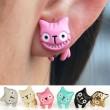 Sucré style coloré 3D Animal Un Chat Smiley Boucles d'oreilles