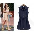 Mode Style Marine Bleu Mousseline de soie Sans Manches Robe