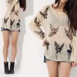 Sexy Butterfly Printed  Frayed Knit &Sweater