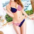 Sexy Étoiles Rayures USA Flag Bikini Été chaud Maillot de bain femme à rayures