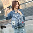 Retro British Flash Drilling Glasses Lips Perfume Single Buckle Denim Student Backpack