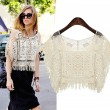 Fashion Joker Neck Hollow Tassel Lace Smock