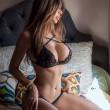 Sexy Dentelle noir croix sous-vêtements ensemble soutien-gorge élingue femmes lingerie intime