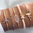 Éléphant arc ananas flamant unique Bracelet de perles Ensemble de cinq pièces Bracelet