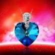 Bleu Océan Cœur Cristal 925 Argent Pendentif