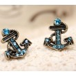 rétro style Marine faux diamant Ancrer Des boucles d'oreilles