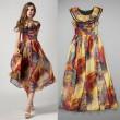 Mode coloré Dames Layered Rond Cou Mousseline de soie Robe