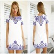 Et Bleu Blanc Impression Rond Cou Mode Robe